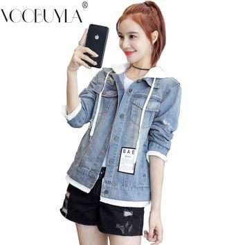 69018450bf2 Voobuyla Womens Wash Water Denim Jacket Embroidery Letter Hole D