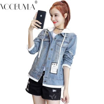 Voobuyla Womens Wash Water Denim Jacket Embroidery Letter Hole Denim Coats Hoodies Outerwear Female Spring Autumn Jeans Jackets