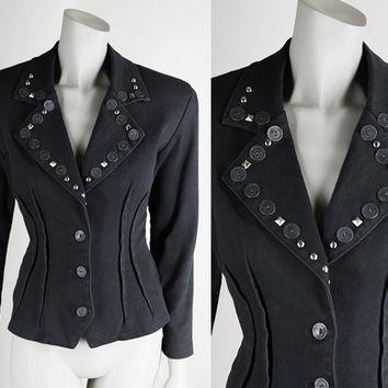 Vintage 80s Jacket / 1980s Black Stretch Denim Studded Fitted Blazer M