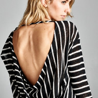 Black & White Striped Open Back Top