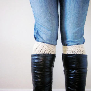 Crochet Boot Cuffs Socks Boot Toppers in Cream