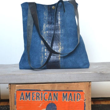 SAVE 20 PERCENT Upcycled Leather Tote Bag - OOAK Leather Tote Bag - Painted Vintage Leather Bag