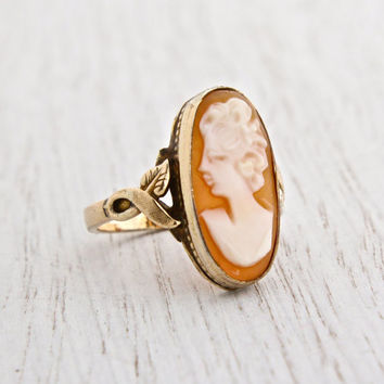 Antique Art Deco Cameo Ring - 10K Gold Filled Carved Shell Signed Clark & Coombs Size 6 Art Nouveau Style Jewelry / Ornate Victorian Revival