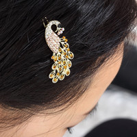 Exquisite and Attractive Rhinestone Embellished Peacock Shape Hairpin China Wholesale - Sammydress.com