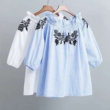 Summer Stylish Strapless Blue Stripes Embroidery Shirt [8173564999]