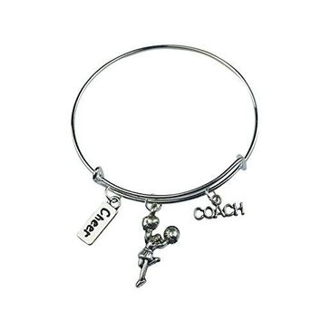 Art Attack Silvertone Cheerleader Cheer Coach Sports Pom Pom Charm Expandable Bracelet