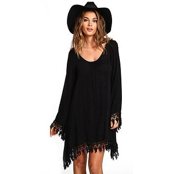 2017 Summer Women Boho Tassel Dress Short Vestido Sexy Lace Crochet Chiffon Tunic Hollow Black Beach Shirt Dress Blusa Hot Sale