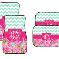 Lilly Inspired Car Mats, Personalized Car Mats, Custom Car Mats, Chevron Car Mats, Rose Car Mats, Monogrammed Car Mats