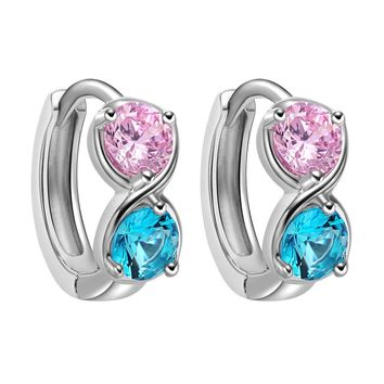 Small Cute Infinity Yin Yang Lucky Charms Silver-Tone Sky Blue Pink Crystals Amulet Earrings