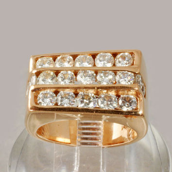 Men's / Women's 14K Gold Rose Gold Diamond Ring 2.85 CWT - Size 8-1/2