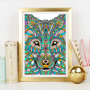 Wolf Spirit Animal Art Print - Home Decor - Hippie Art Print -  Art Print - Esoteric Print- Spiritual Print- Supernatural