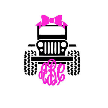 Jeep Bow Monogram Decal | for Cars | Yeti | Laptops and Much More! Jeep Life - Jeep Girl - Jeep Life - Bow Monogram - Jeep Crew  - Crown