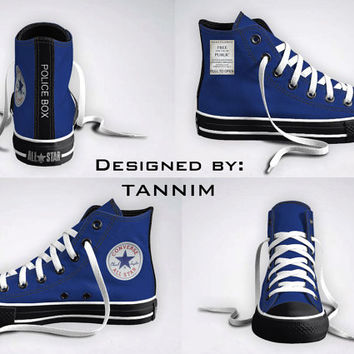 Ready for IMMEDIATE Shipping: The ORIGINAL Custom Police Box Converse Chucks (Size 10.5 Mens / 12.5 Womens)