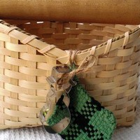 Handwoven Rolling Pin Basket with Vintage Finds