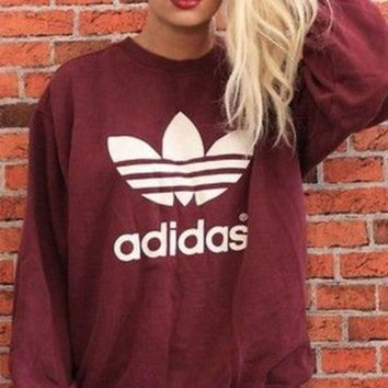 DCCKJ2X Adidas Burgundy Fashion Casual Long Sleeve Sport Top Sweater Pullover Sweatshirt
