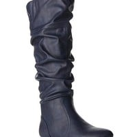 Women's Soft Slouchy Flat To Low Heel Knee High Boots With Hidden Pocket