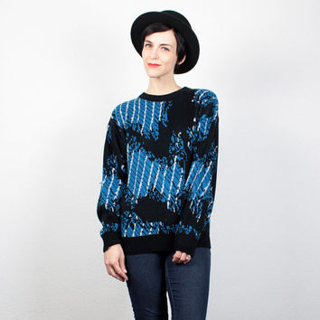 Vintage 80s Sweater Black White Cobalt Blue Abstract Print Knit Cosby Sweater 1980s New Wave Jumper Mod Hipster Pullover M Medium L Large
