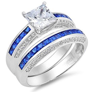 1.7CT Princess Cut Russian Lab Diamond & Blue Topaz Bridal Set