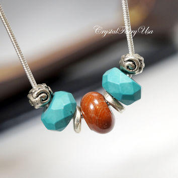Natural Turquoise Necklace  - Jasper Necklace - Men's Necklace - Men's Stone Pendant - Simple Stone Genuine Turquoise For Men  Gift For Him
