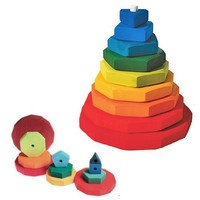 Grimm's Wooden Conical Stacking Tower of 9 Rainbow-Colored Geometric Shapes (from Triangle to 11-Sided)