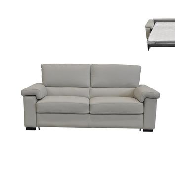 Estro Salotti Spock Italian Modern Light Grey Leather Large Sofa Bed