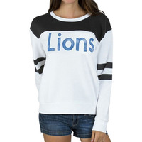 Detroit Lions Junk Food Womens Champion Color-Blocked Crew Fleece Sweatshirt – White