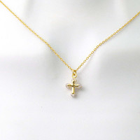 Tiny, Cross, Cubic, Ends, Gold, Silver, Necklace, Lovers, Best friend, Mom, Sister, Gift, Accessory, Jewelry