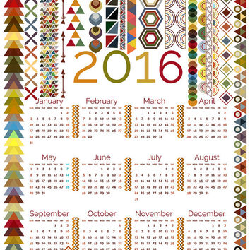 2016 Tribal calendar - Wall calendar Printable calendar Tribal print Tribal pattern Tribal wall art Tribal wall decor 2016 calendar Tribal