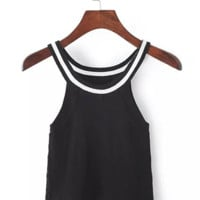 Black Skinny High Waist shoulder Sleeveless Knit Vest