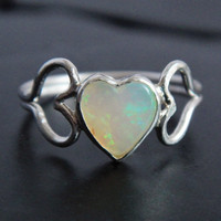 Natural Australian Opal and Sterling Silver Heart Ring, Sweetheart Ring, Opal Promise Ring, Heart Shaped Stone, Genuine Opal, Gift for Her