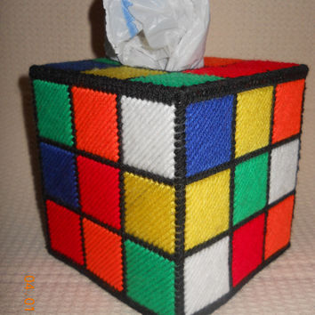 Rubix Cube Tissue box cover in Plastic canvas