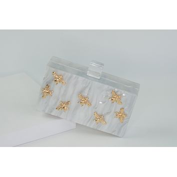Summer Clutch Bag Bee Acrylic Purse