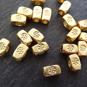 20 Chunky Rectangle Flower Stamped Beads - 22k Matte Gold Plated Brass