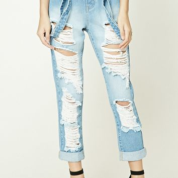 Distressed Suspender Jeans