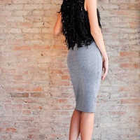 Zara Lurex Knit Pencil Skirt - Silver
