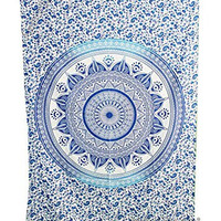 "Amitus Exports ® 1 X Dome Ombre 80""X52"" Approx. Inches Blue With White Background Color Cotton Fabric Multi-Purpose Handmade Tapestry Hippy Indian Mandala Throws Bohemian Tapestries"