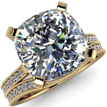 Christine Cushion Moissanite Half Eternity Milgrain Cathedral Setting Ring