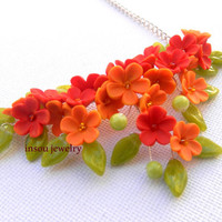 Flower necklace - Romantic necklace - Lilacs - Red orange flowers -  Handmade polymer necklace