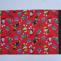 Red Paw Patrol cotton pillowcase with red satin edge