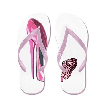 PINK STILETTO SHOE AND BUTTERFLY ART FLIP FLOPS