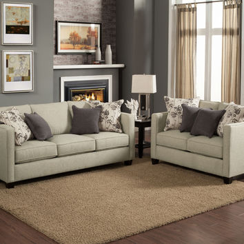 A.M.B. Furniture & Design :: Living room furniture :: Sofas and Sets :: Sofa Sets :: 2 pc Aura gunsmoke fabric upholstered sofa and love seat set with square arms