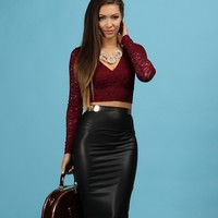Sale-burgundy Sequin & Lace Crop Top