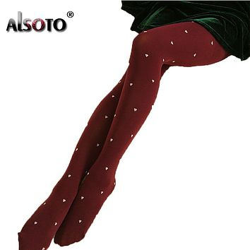 ALSOTO Kawaii Women Tights sexy stockings for girls Heart Pattern Design Winter warm pantyhose Slim was thin 120d