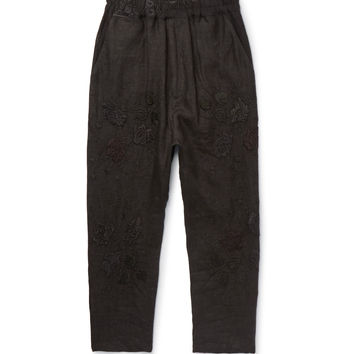 By Walid - Morton Tapered Cropped Embroidered Linen Trousers
