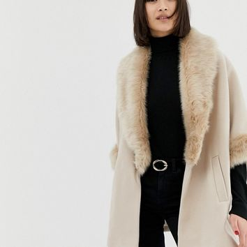 River Island swing coat with faux fur collar in stone | ASOS