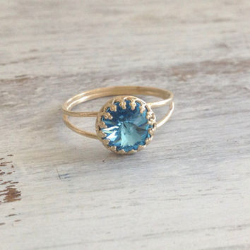 Gold ring, aquamarine ring, cocktail ring, stacking ring, bridesmaids rings, romantic gold ring