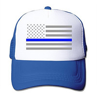 Texhood Thin Blue Line American Flag Cool Trucker Hat One Size RoyalBlue