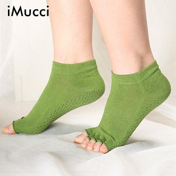 iMucci Toe Socks Women Open Toed Non Slip Cotton Calcetines Deporte New Fitness Sox Compression Pilates Socks