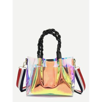 Iridescent Tote Bag With Clutch