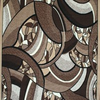 Generations Brand New Contemporary Brown and Beige Modern Square and Circles Area Rug 7'10 x 10'5